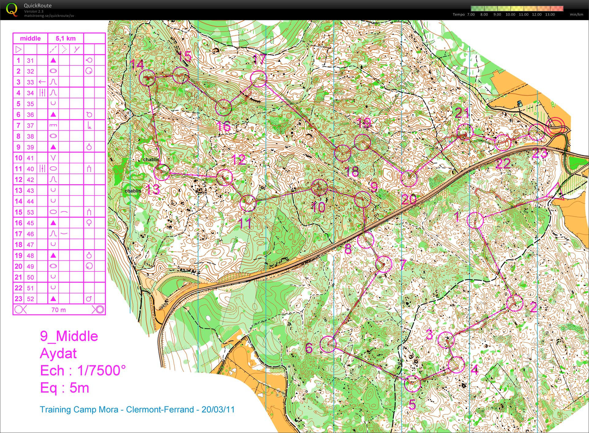 Map ClermontFerrand  March 25th 2011  Orienteering Map from